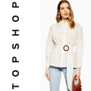 TOPSHOP Belted Buckle Poplin Shirt in Ivory Size 4